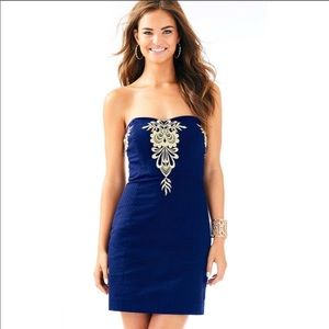 Lilly Pulitzer navy and gold convertible dress